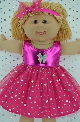"""Play n Wear Doll Clothes To Fit 16"""" Cabbage Patch HOT PINK SEQUIN DRESS~HEADBAND"""