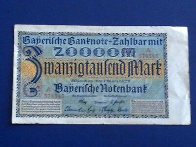 Germany - Bayerish- 20 000 Mark  Banknote 1923 - Munich-Very Fine