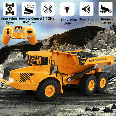2 4ghz Rc Remote Control Electric Engineering Dump Truck Toy Model Kids Boy Gift