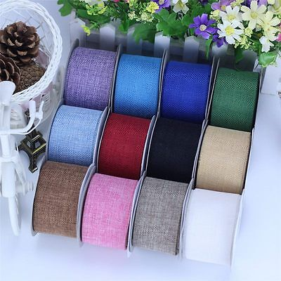10M Faux Jute Burlap Hessian Ribbon Bow Tape Arts Craft Gift Wrap Rustic Deco