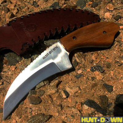 """9"""" Wood Handle Full Tang Tactical Survival Hunting Knife Leather Sheath"""