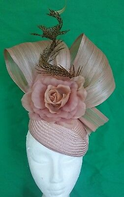 Nude Latte Beige Flower Silk Feather Fascinator Races Wedding Melbourne Cup