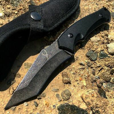 """9"""" Full Tang Stone Wash Blade Tactical Combat Hunting Knife Series with Sheath"""