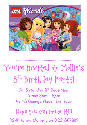 Personalised Photo Paper Card Party Birthday Invites Invitations LEGO FRIENDS 1