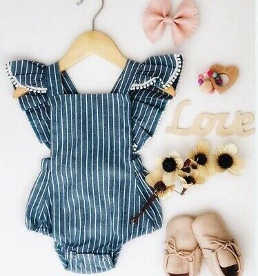 Newborn Infant Baby Girl Sleeveless Casual Striped Romper Jumpsuit Outfits Set