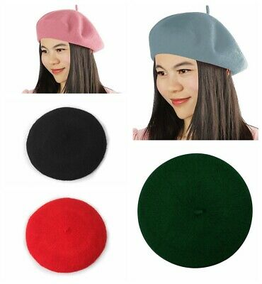French Beret Hat French Style Classic Solid Color Wool Beret for Women and Girls