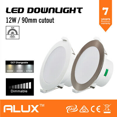 12W Cct Led Downlight Dimmable Tri Colour Changing Ip44 90Mm Cutout