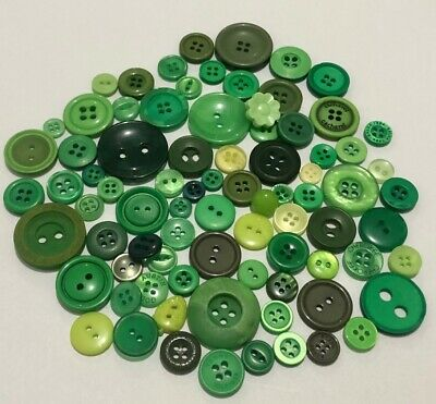 Green Buttons 100pcs Assorted Shades & Sizes Bulk Lot Aussie Seller