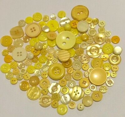 Yellow Buttons 100pcs Assorted Shades & Sizes Bulk Lot Aussie Seller