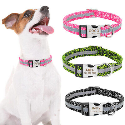 Personalized Dog Collar Reflective Engraved Nylon Dog Collar & ID Name Tags