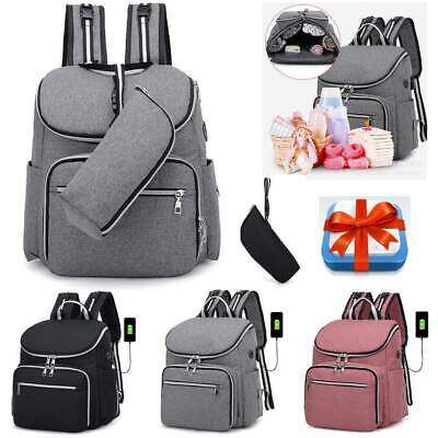 Mummy Baby Changing Large USB Bag Nappy Diaper Wipe Clean Maternity Backpack