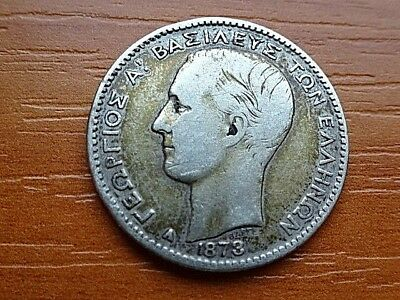 Greece Silver 1 Drachma 1873 A King George I 1845-1913 AD Very Rare Coin.