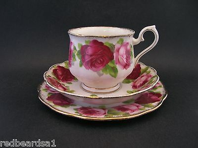 ROYAL ALBERT OLD ENGLISH ROSE Vintage Bone China TRIO Cup Saucer Plate Hampton