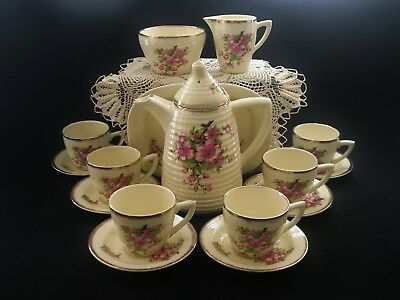 Rare CLARICE CLIFF COFFEE SET Vintage Art Deco China 16 Piece Lynton Bee Hive