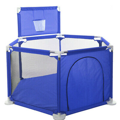 6 Side Baby Child Foldable Kids Playpen Play Pens Room Divider with Ball Basket