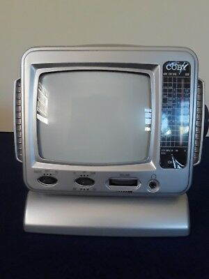 vintage PORTABLE TV WITH AM/FM RADIO COBY BLACK AND WHITE tested workin cxtv-1