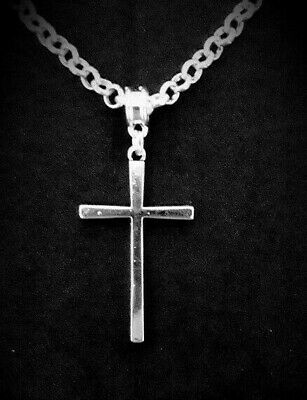 Adults Silver Plated ROLO Belcher NECKLACE with Large Cross Pendant Mens Gift