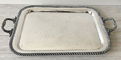 Substantial Silver Plate Vintage Rectangular Tray with Double Handles – 27 x 16