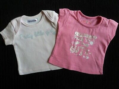 Baby clothes GIRL newborn 0-1m<10lb/4.5kg x2 cute pinks/silver t-shirts SEE SHOP