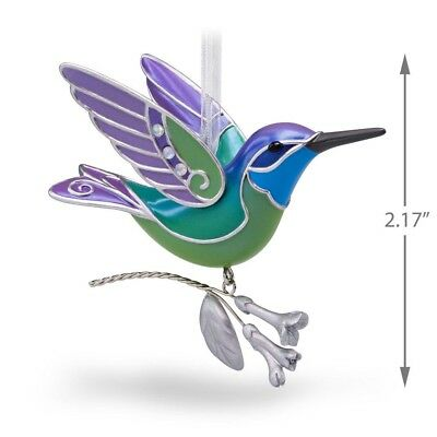 2018 Hallmark Hummingbird Surprise Repaint PURPLE GREEN Ornament BEAUTY OF BIRDS