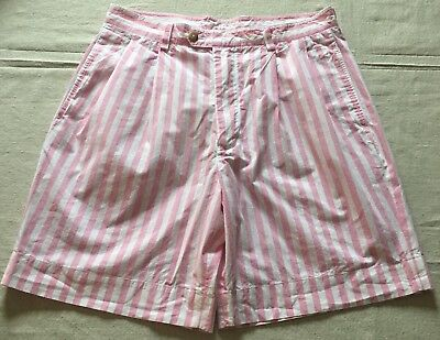 Vintage Nautica Pink White Striped Golf Shorts Mens 32 Pleated Front Preppy 90s
