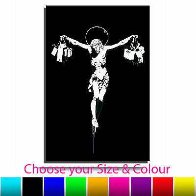 Jesus Shop Till You Drop Banksy Single Canvas Wall Art Picture Print Hg