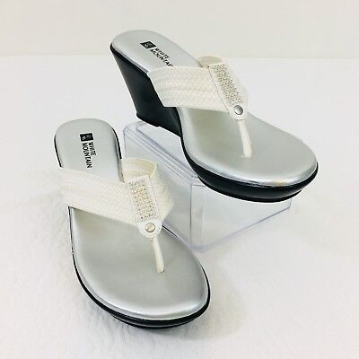a8afc94606d Women s White Mountain White Sandals w  Rhinestones Crystal Size 6M Wedge E1