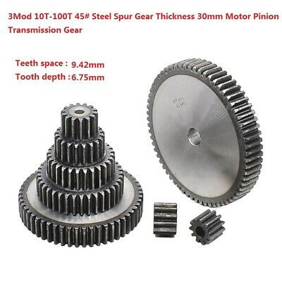 3Mod 10T-100T 45# Steel Spur Gear Thickness 30mm Motor Pinion Transmission Gear