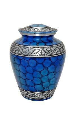Large Elite Blue Fire Urn in Aluminium for Adult or Pet Dog Ashes Funeral
