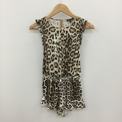 29a3546f63c ROBERTO CAVALLI BROWN Leopard Print Sleeveless Playsuit Girl Age 7 Years  SU50315