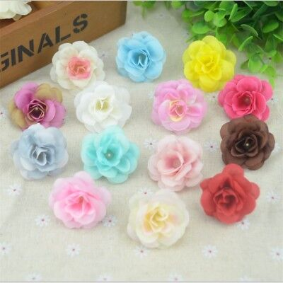 50 Pcs 4.5cm Handmade Mini Artificial Silk Rose Flowers Heads DIY Decorative