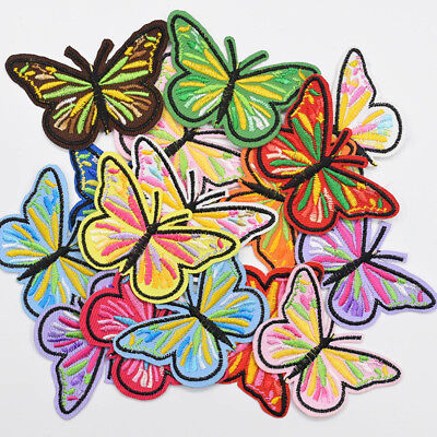 36Pcs Butterfly Embroidered Applique Sew On Patch Mixed Color DIY Decoration