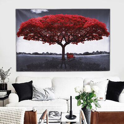 Large Red Tree Canvas Modern Art Painting Picture Print UnFramed Home Wall