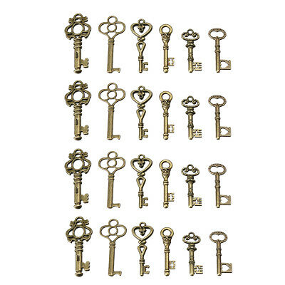 24 Antique Old Vintage Look Skeleton Keys Lot Bronze Tone Pendants Jewelry Mix !