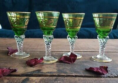 Set of 4 Vintage Green Glass Shot/Cordial Glasses with Gold Trim and filigree