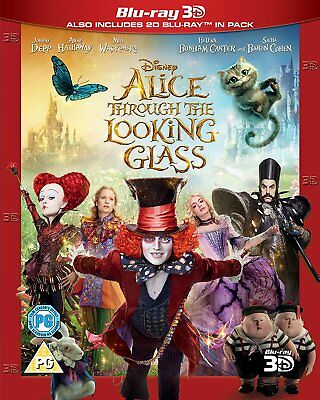 Alice Through the Looking Glass (3D + 2D Blu-ray, 2 Discs, Region Free) *NEW*
