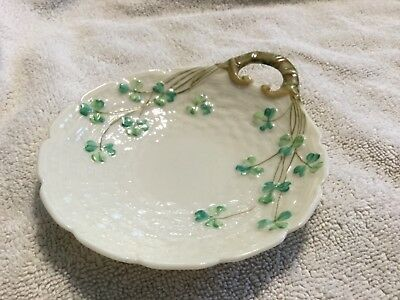 Belleek Small Basket Weave Dish With Handle Ireland. Fermanagh. Black Stamp