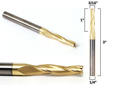 "3/16"" Tapered Spiral ZRN Coated CNC Router Bit - 1/4"" Shank - Yonico 38314-SC"
