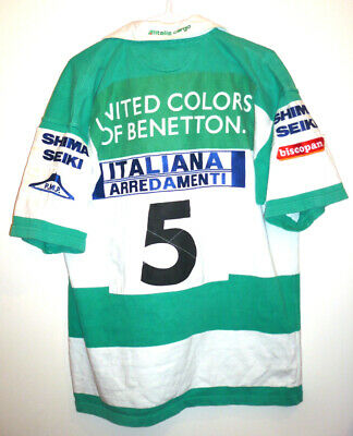 maillot Rugby BENETTON TREVISO N°5 shirt ITALIA Trevise maglia matchworn ITALIE