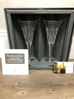 Waterford Crystal The Millennium Collection Year 2000 Love Heart Flutes With Box
