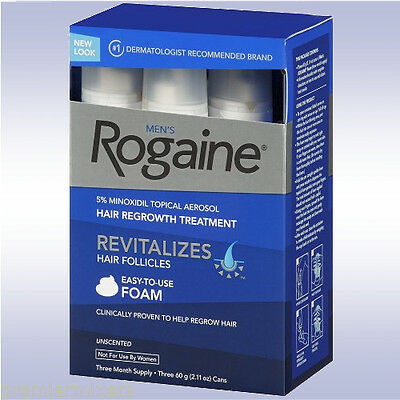 ROGAINE MEN'S FOAM (3 MONTH SUPPLY) 5% minoxidil topical 3 6 9 for men regaine