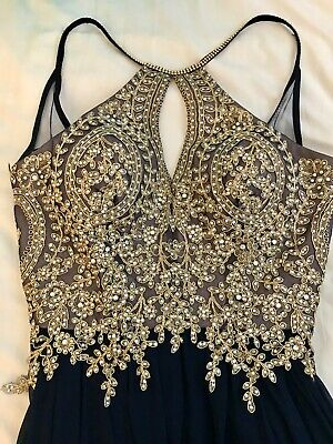 Gold & Navy Open Back Gown