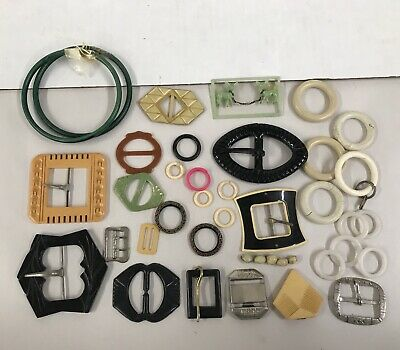 Vintage Belt Buckle LOT 32 Plastic Celluloid Bakelite 1940s Estate Sale Find