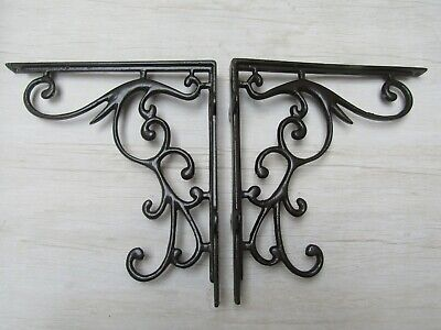 """PAIR OF 9"""" ORNATE cast iron vintage rustic Victorian shelf support brackets"""