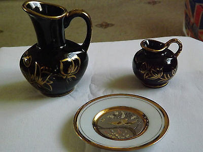 Pair of Black Jugs with Raised Floral Gold design Trim  & Art of Chokin Pin Dish
