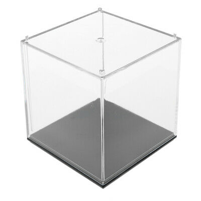 """2.76""""x 2.76""""x 2.76"""" Clear Display Case Box Show Case with Black Base"""