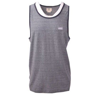 Vans Off The Wall Men's Black/Grey Striped Sleeveless Tank Top S06