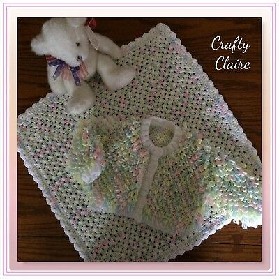 Hand knitted Baby LOOPY Cardigan - Coat - 0-6 Mths and Matching Crochet Blanket