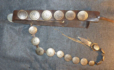 1920s Plains Indian or Cliff Dweller's Concho Belt With Leg Drop Large Conchos