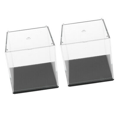 7x7x7cm Clear Display Case Box Show Case with Black Base Pack of 2
